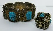 Vintage Chinese Export Sterling Silver Hubei Turquoise Panel Bracelet W Bobble