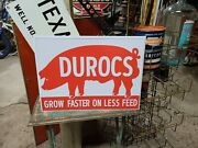 Embossed Durocs Pig Sign Farm Seed Feed Barn Tractor Gas Oil Steam