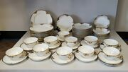 Vintage Rare Limoges Gda France Beautiful Gold Rim And Gold Flowers 50 Piece Set