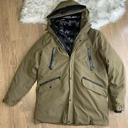 Rudsak Menand039s M Puffer Olive 90 Goose Down Jacket Leather Trim Insulated Hood