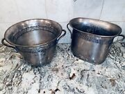 2 Vintage Pottery Barn Champagne Bottle Ice Bucket Silver Plate Pewter Barware