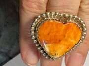 Native American Sterling Silver And Spiny Oyster Huge Heart Ring By Lb Linda Bill