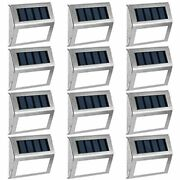 Gigalumi 12 Pack Solar Deck Lights, 3 Led Stair Outdoor Step Lighting Stainless