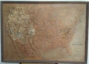 Antique Central School Supply House Of United States 48 X 34 Relief Map 1899