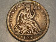 1866 S Seated Liberty Half Dollar Abt. Vf, Wm, And Attractive
