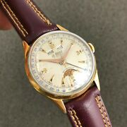 Antique Le Phare Triple Calendar Moon Phase Valjoux 90 Watch Gold Plated Case
