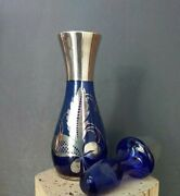 Antique Cobalt Blue Silver Overlay Perfume Bottle Stopper 6 1/2 Tall X 2 Wide