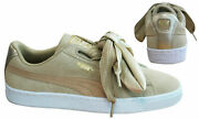 Suede Heart Safari Womens Trainers Lace Up Beige Leather 364083 01 D75