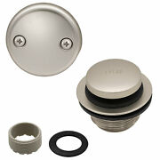 Toe Touch Tub Drain Replacement Bathtub Overflow Cover Kit, Satin Nickel