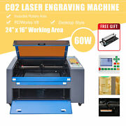 60w 24x16 Co2 Laser Engraver Marking Engraving Cutting Ruida With Rotary Axis