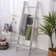 White 4.5 Ft Rustic Farmhouse Blanket Ladder Quilt Towel Shabby Hand Made Newest