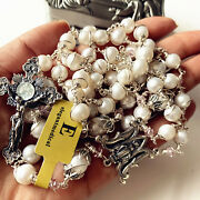 Catholic Gifts Sterling Silver Pearl Bead Rosary Necklace Cross Last Supper Box