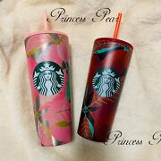 In Hand 2020 Starbucks Pink And Red Holly Berry Holiday Tumbler Stainless