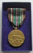 Ww Ii U.s. Navy European African Campaign Medal In Box Sewn Slotted Brooch