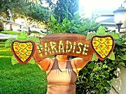 Vibrant 19.5 Handcarved And Painted Wood Paradise With Turtles Wall Decor Sign