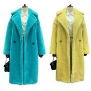 Womenand039s Coat Cashmere Lambwool Oversize Double Breasted Lapel Teddy Parka Club L
