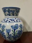 Vintage Blue Chinese Vase With Blue Flowers Markings On The Bottom