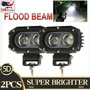 2x 4and039and039 Led Work Light Offroad Suv Atv Truck Pods Flood Backup Reverse Fog Lights