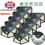 8pc Led Outdoor Solar Powered Wall Lamp Motion Sensor Waterproof Security Light