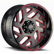 Off-road Monster M19 20x10 6x5.5/6x139.7 -19 Black Milled Red Wheels4 106.4 20