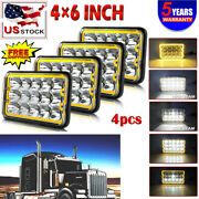 4x 4x6 Halo Led Headlight Drl Sealed Dot Lamp For Kenworth T400 T800 W900 T600a