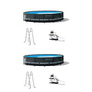 Intex 16ft X 48in Ultra Xtr Round Frame Above Ground Pool Set W/ Pump 2 Pack