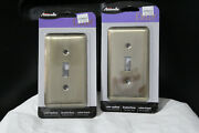 2 Amerelle Decor Brushed Brass Toggle Switch Plate Outlet Covers