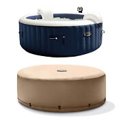 Intex Purespa 4 Person Inflatable Portable Heated Round Hot Tub And Cover Package