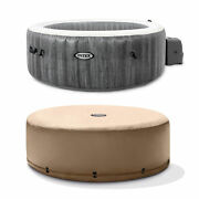 Intex Greywood Deluxe 4 Person Inflatable Hot Tub Jet Spa And Cover Package Grey