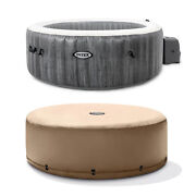 Intex Greywood Deluxe 4 Person Inflatable Hot Tub Jet Spa And Cover Package, Grey