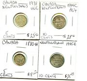 1880-h - 1938 - 1944-c - 1945-c - Canada - 4 Coin Lot - 5 And 10 Cent Coins -