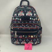 Disney Mickey Mouse Park Icons Holiday Ugly Sweater Loungefly Mini Backpack