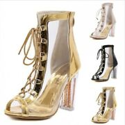 Europe Womenand039s Open Toe Lace Up Clear Transparent Ankle Boots Sandals 38/39/40 D