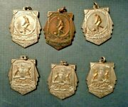 6 Vintage Bc British Columbia Football Medal Fob Lot At Least 4 Sterling Silver