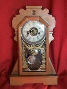 Antique Waterbury Clock Co Kitchen Fancy 1880's 30 Hour Time And Strike Running