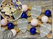 Vintage Lalique Frosted Leaves Angel Skin Coral Lapis Blown Glass Bead Necklace