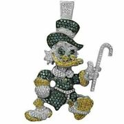 Men's Hip Hop Pendants Amazing Donald Duck With Blue, Yellow And White Sapphires