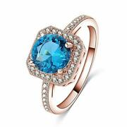 Lab Created Blue Sapphire Round Stone Engagement Eternity Thumb Rings In 925 Ss