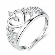 Promise Rings For Her White Princess Stone Crown Heart Design Costume Jewellery