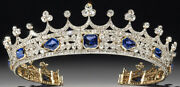 Royal Crown Blue Asscher Stone Yellow Plated For Wedding Women In 925 Silver