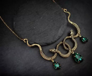 Twin Snakes Crystal Necklace Gothic Punk Pendant Womens Gems Serpent Jewelry