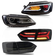 Customized Led Headlights W/demon Eys+smoked Taillights For 2011-2014 Vw Jetta