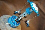 Vtg.merry-go-round Carousel Mechanical Wind-up Clockwork French Sailors Tin Toy