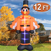 Turnmeon 12 Ft Thanksgivings Inflatable Turkey With Pilgrims Hat Thanksgivings