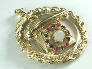 14k Custom Made Jeweled Rotary Dial Phone In Rope Link Pendant..1 3/8 ..17.0gm.