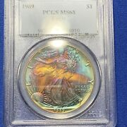 1989 American Silver Eagle Pcgs Ms68. Toned - Double Sided Toning - A122
