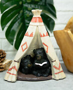 Rustic Forest Black Bear Cubs Story Time Reading Book In Teepee Hut Figurine