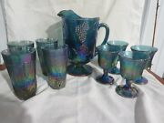 Indiana Glass Carnival Blue Iridescent Harvest Grape Pitcher Tumblers Goblets