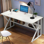 Computer Desk White Table Workstation Home Office Student Laptop Study W/shelf