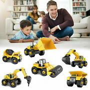Kids Diecast Toy Mini Construction Digger 6 In 1 Diy Excavator Truck Car Gift